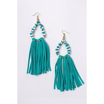 Arya Tassel Trim Earrings (Gold/Turquoise)