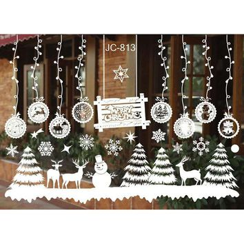1 Set Christmas Wall Stickers Snowman Snowflake Window Glass Sticker Christmas Festival Decoration Ornament 2017ing