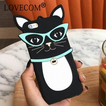 ICIKHTG OPAL FERRIE - Cartoon Sunglassess Black Cat Soft Silicon Phone Case For iPhone