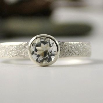 White Topaz Ring Sterling Silver Handmade Ring by DalkullanJewelry