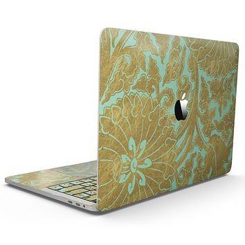 Mint and Gold Floral v4 - MacBook Pro with Touch Bar Skin Kit