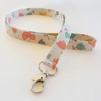 Butterfly Lanyard / Butterflies / Floral Keychain /  Lanyards / Keychain / Tulips / Fabric Lanyards / Badge Holder / Pretty Lanyard