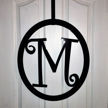 "Metal monogram Door Hanger- 22"" -Curlz Font -  Over 25 colors available. , front door wreaths"
