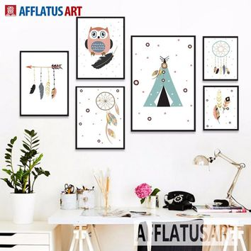 AFFLATUS Tent Feather Owl Canvas Painting Modern Wall Art Canvas Posters And Prints Wall Pictures For Kids Room Bedroom Decor