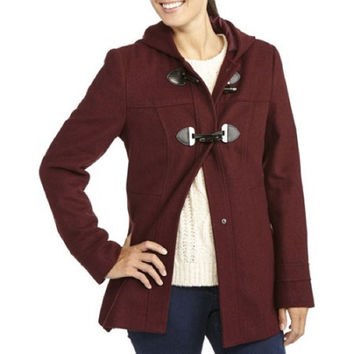 George UK Women's Faux Wool Hooded Toggle Coat, US Size 10, Burgundy