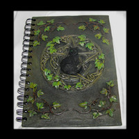 Black Cat Pentagram Hardbound Spiral Journal