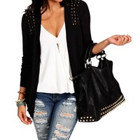 Black Spike Long Cardi