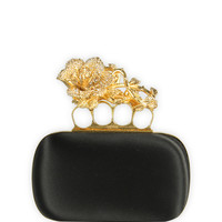 Alexander McQueen Small Floral Short Knuckle Box Clutch