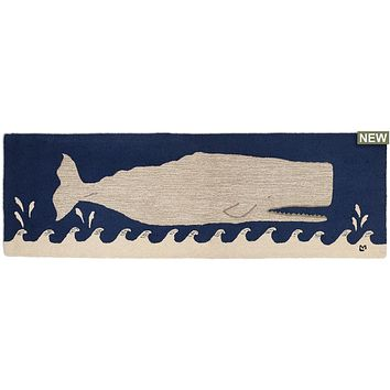 "Great White Whale On Navy Hooked Wool Runner 30""W X 8""D"