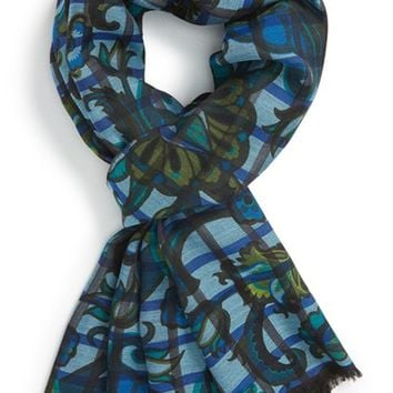 Men's Etro Check Paisley Wool & Silk Scarf - Blue