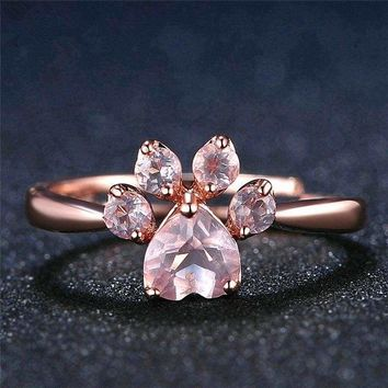 Rose Gold Crystal Zircon Quartz Paw Print Ring Adjustable Jewelry Wedding Gift  713289473884