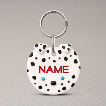 Dalmatian Dog ID Tag - Name Tag For Dogs, Personalized ID Tag, Polymer Clay Handmade
