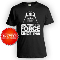 30th Bday Gifts For Him Birthday T Shirt Movie TShirt B Day Present Geek Shirt Nerd One With The Force Since 1988 Birthday Mens Tee - BG556