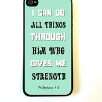 iPhone 5 Case ThinShell Case Protective iPhone 5 Case Bible Quote Philippians 4 13 Turquoise