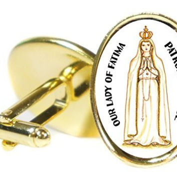 Our Lady of Fatima Patron of Peace  Oval Gold Pair of Cuff Links