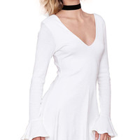 Solid Color Long Sleeve A-Line Dress