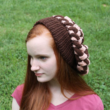 Knitted Beret, Peach, Brown, Entrelac, Womens, Oversize, Slouch Hat, Fashion, Fall, Tam