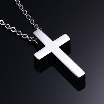 Vnox Classic Blank Cross Necklaces Prayer Christ Men Jewelry Stainless Steel Men Women Free Chain
