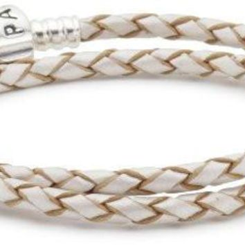 """Pandora Champagne Leather with Silver Clasp Double Bracelet 16.1"""" 590705cpl-d3"""