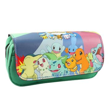 2017 Creative Japanese Pokemon Pencil Case PU Leather Zipper Bag Students Stationery Office School Supplies Pen Pencil Wallets