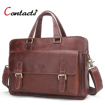 CONTACT'S Genuine Leather Men Bag business Handbag briefcase men shoulder Messenger bag casual laptop bag designer high quality