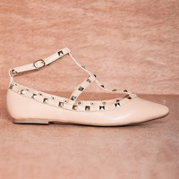 Glaze Point And Pop Stark-1 Strappy Studded Pointed Toe Faux Suede Flats - Nude