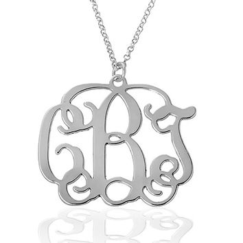 Silver Monogram Necklace - 1 inch Personalized Monogram - 925 Sterling Silver- Special Sale
