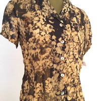 Short Sleeve Blouse, NWT Vintage 90s Floral Blouse, New With Tags, Natural Brown Gold Flowers Button Down Rayon Shirt, 12 Petite PL L Office
