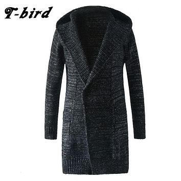 T-Bird Trench Caot Men 2017 Coat Male Knit Cardigan Jacket Men Double-Breasted Long Section Brand Outwear Men Cotton Jackets k6