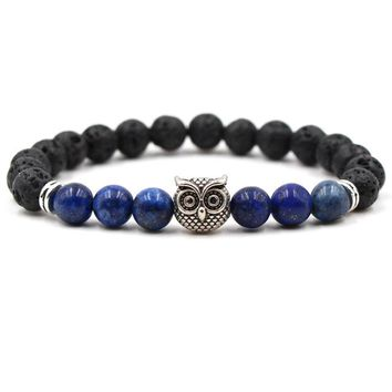 Lava Stone Essential Oil Bracelet with Owl Charm - 8 Bead Colors