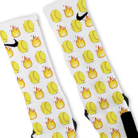 Softball Emoji Custom Nike Elite Socks