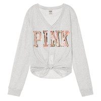 Bling Knotted Long Sleeve Tee - PINK - Victoria's Secret