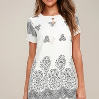 Riverside White Floral Print Shift Dress