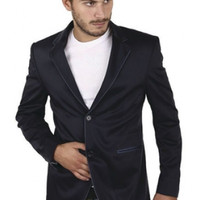 Slim Fit Navy Satin Blazer - Jackets - Men's Online Store