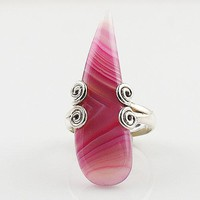 Pink Botswana Agate Sterling Silver Spiral Ring