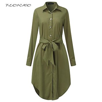Autumn Belted Blouse Shirt Dress Women Solid Color Midi Female Dresses Long Sleeve Oversized Casual Clothes Tunic Plus Size 5XL