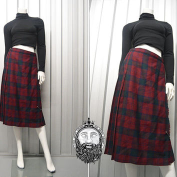 Vintage 90s Grunge Red Tartan Womens Kilt Punk Midi Skirt Pleated Skirt Pure New Wool High Waisted Plaid Skirt Scottish Kilt Grunge Skirt