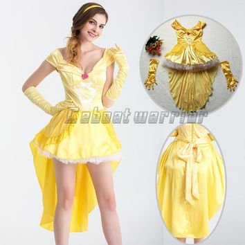 Movie Beauty and Beast princess Belle cosplay Costume yellow fancy Dress  Adult women Clothing