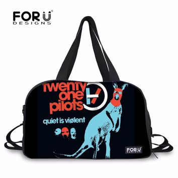 FORUDESIGNS Twenty one pilots Travel Bag School Duffel Bags Tote Large Weekend Bag Overnight luggage Bags Women and Men Carry on