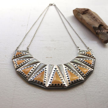 Crescent geometric pyramid statement necklace - Volcano Store