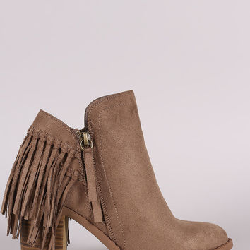 Wild Diva Lounge Suede Fringe Chunky Heeled Booties