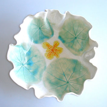 Nasturtium serving bowl by Clayshapes on Etsy
