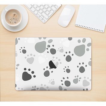 "The Gray & White Large Paw Prints Skin Kit for the 12"" Apple MacBook"