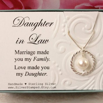 Daughter in Law Gift from Mother in Law Sterling silver necklace eternity circle Swarovski pearl gift box Bridal Wedding birthday gift