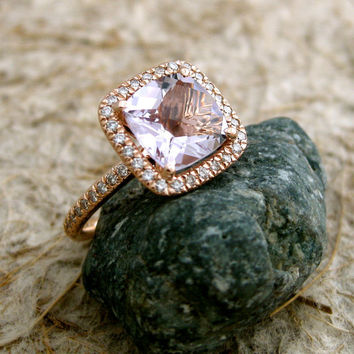 Handmade Antique Cushion Cut Lavender Lilac Rose de France Amethyst Engagement Ring in 14k Rose Gold with Diamonds