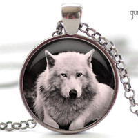 White Wolf Charm in Your Choice of Finish (1220)