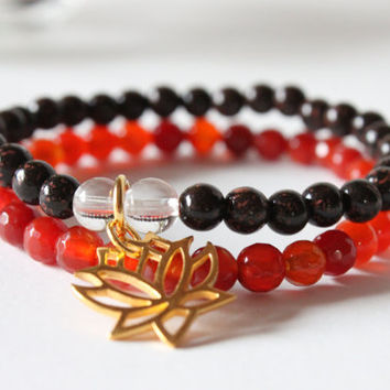 Carnelian and Red Lotus Seed Bracelet with Lotus Charm