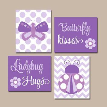 Butterfly Kisses, Ladybug Hugs, Baby Girl Nursery Wall Art, Purple Girl Bedroom Wall Decor, CANVAS or Prints, Girl Quote Decor, Set of 4