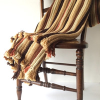 Vintage Crochet Blanket in Warm Earth Tones, Knitted Coverlet, Knitted Striped Afghan, Rustic Cabin Decor