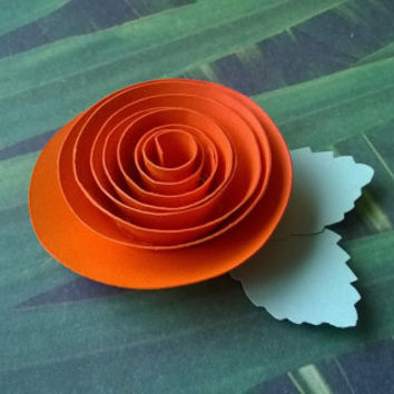 Orange rose boutonniere groomsman pin back groom paper flower lapel brooch bridal party bridal shower wedding reception family favors
